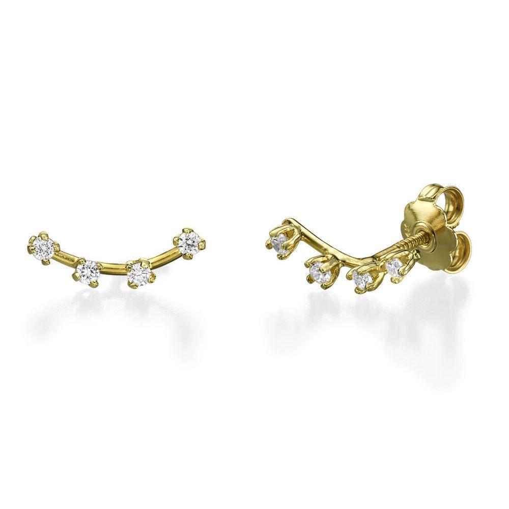 תכשיטי זהב לנשים | עגילים צמודים מזהב צהוב - ספוטים קריסטל