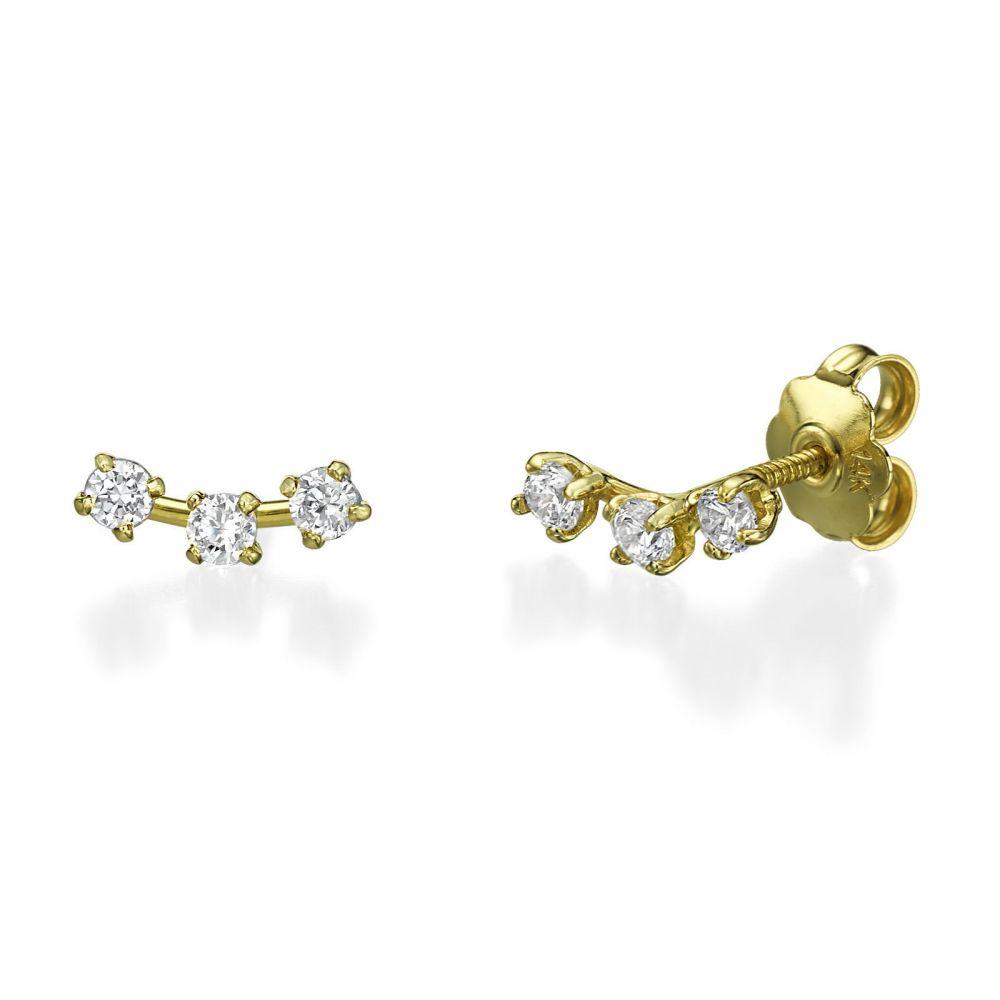 תכשיטי זהב לנשים | עגילים צמודים מזהב צהוב 14 קראט - ספוטים זוהרים