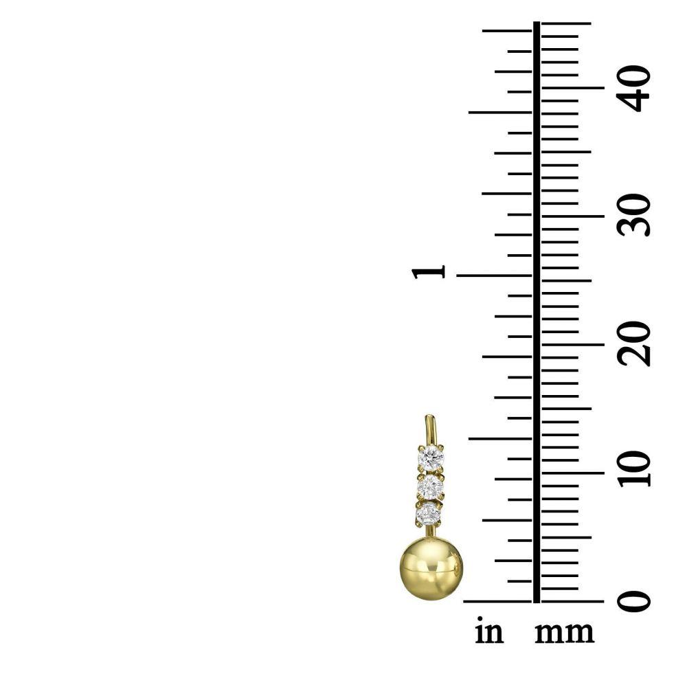 תכשיטי זהב לנשים | עגילים צמודים מזהב צהוב - זירקונים וכדורים