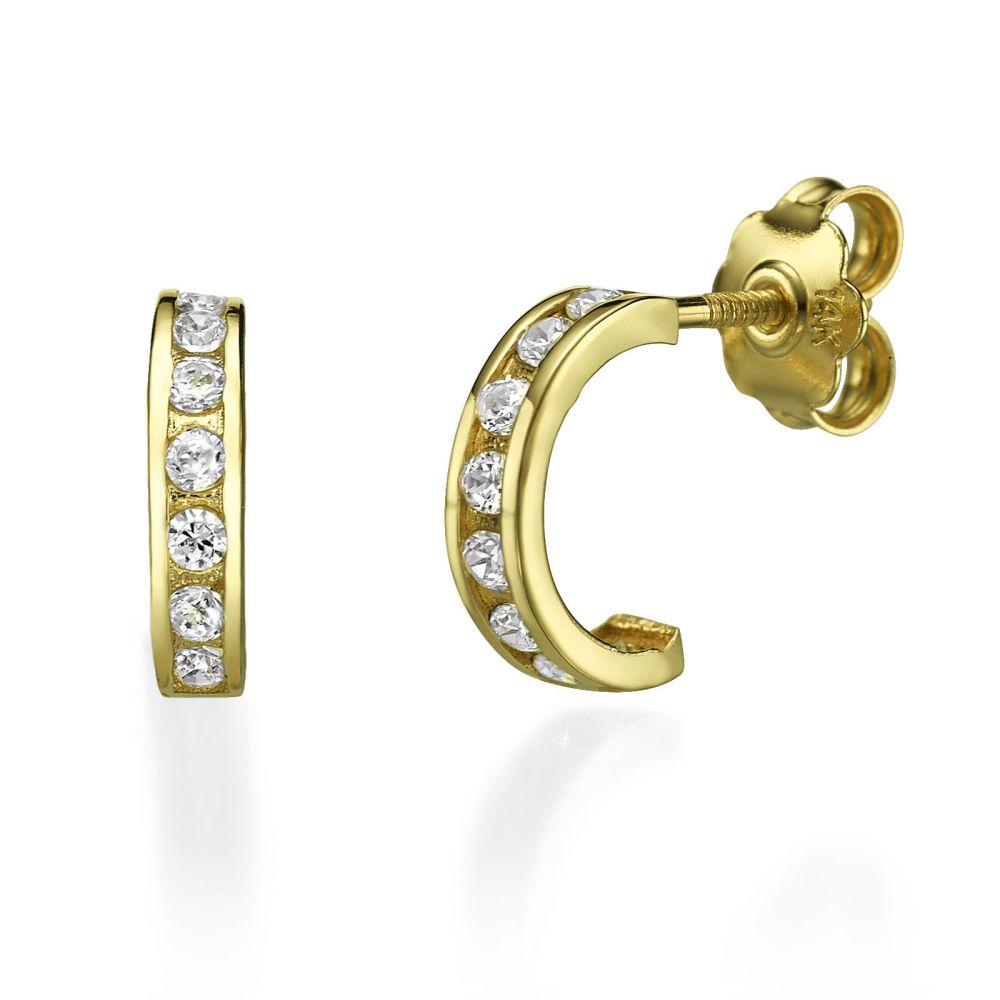 תכשיטי זהב לנשים | עגילים צמודים מזהב צהוב 14 קראט - אוקלנד