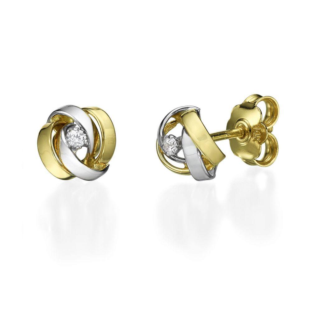 תכשיטי זהב לנשים | עגילים צמודים מזהב צהוב ולבן - צ'קרה