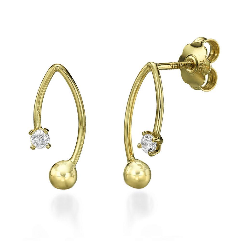 תכשיטי זהב לנשים | עגילים צמודים מזהב צהוב - סן פרנסיסקו