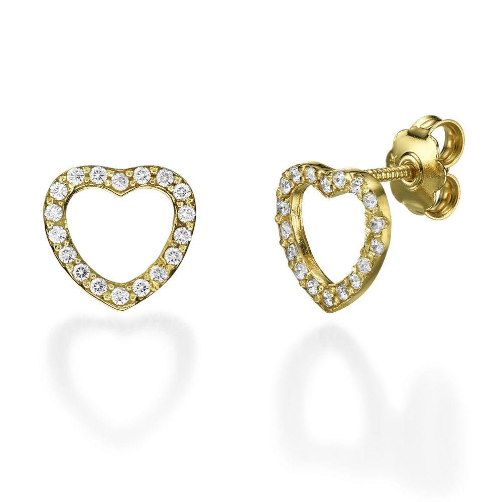 תכשיטי זהב לנשים   עגילים צמודים מזהב צהוב 14 קראט - לב מלכותי