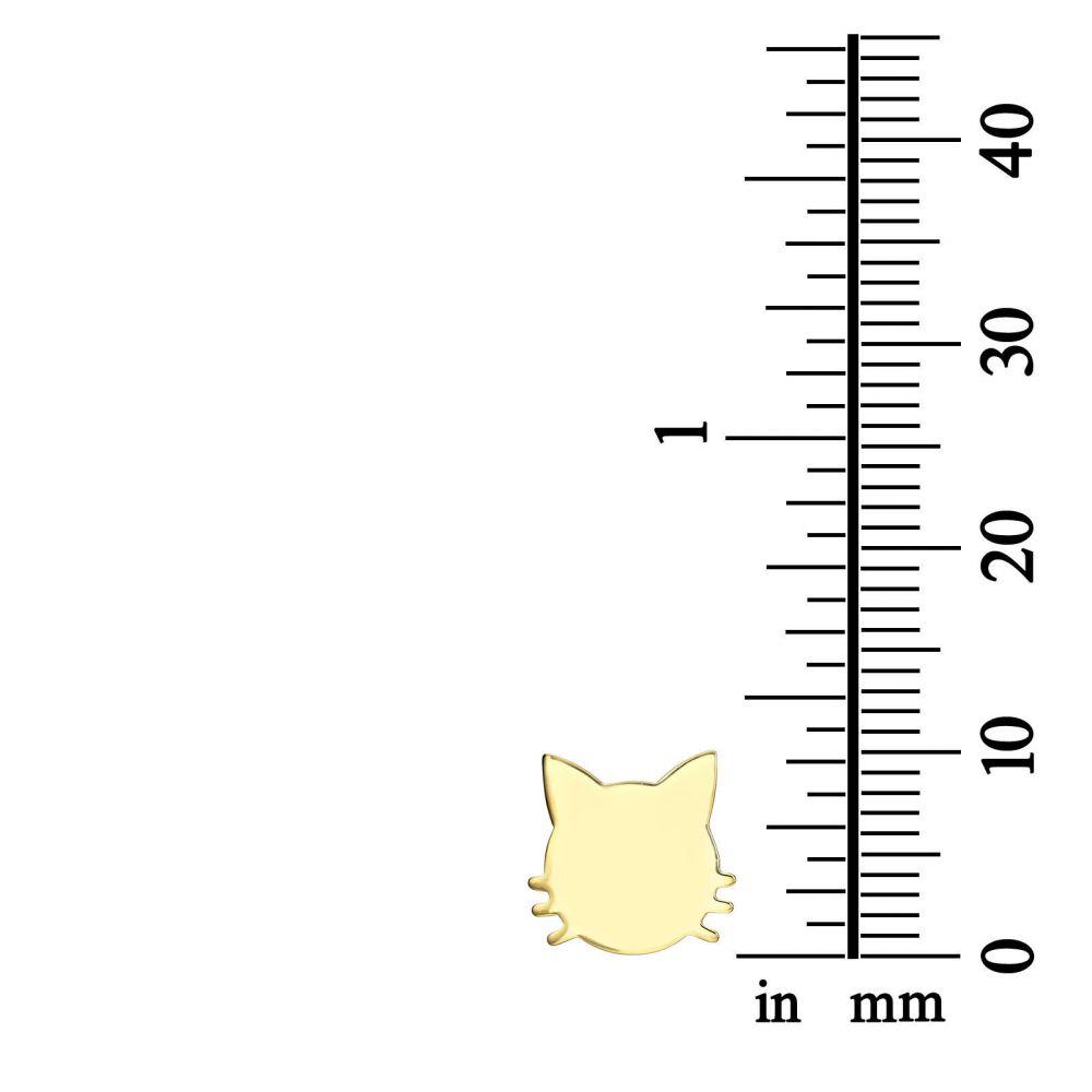 תכשיטי זהב לנשים | עגילים צמודים מזהב צהוב 14 קראט - חתול משופם