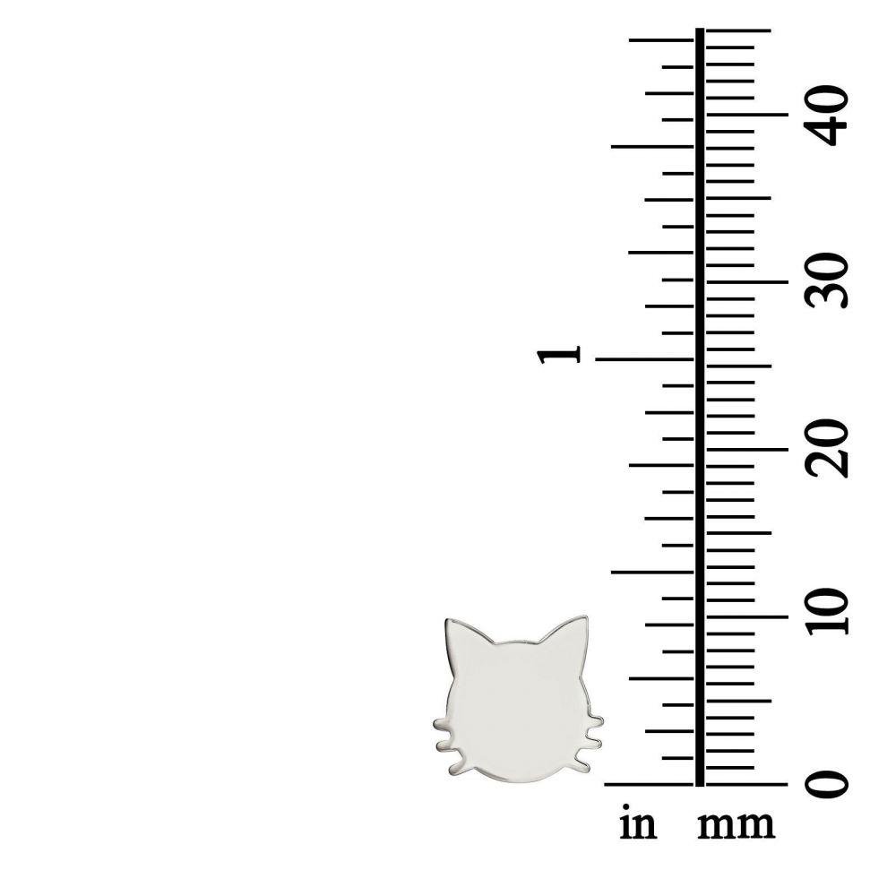 תכשיטי זהב לנשים | עגילים צמודים מזהב לבן - חתול משופם