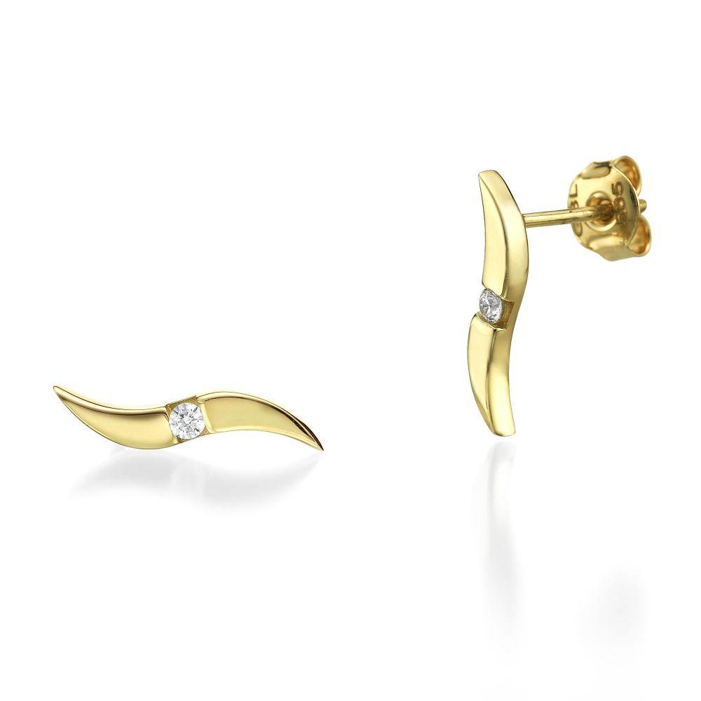 תכשיטי זהב לנשים | עגילים צמודים מזהב צהוב - גלים נוצצים