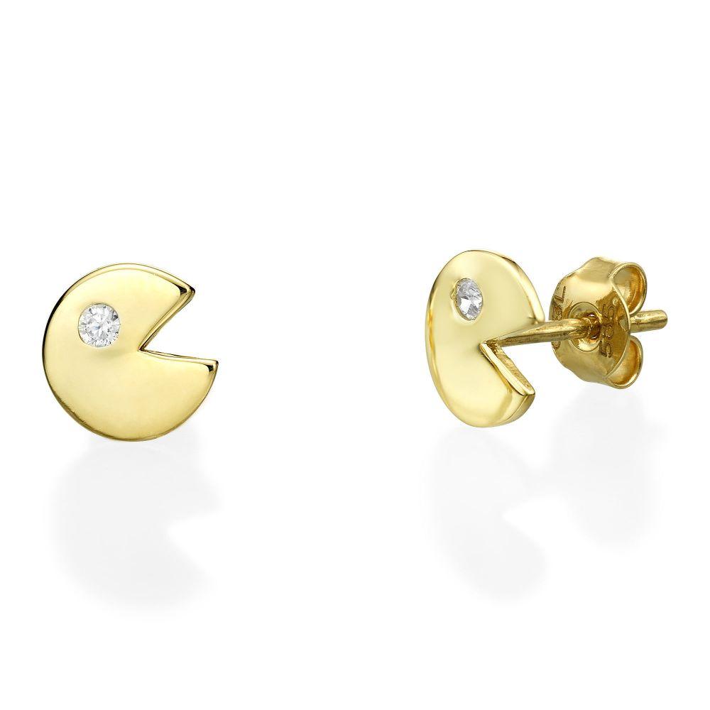 תכשיטי זהב לנשים | עגילים צמודים מזהב צהוב 14 קראט - אייטיז