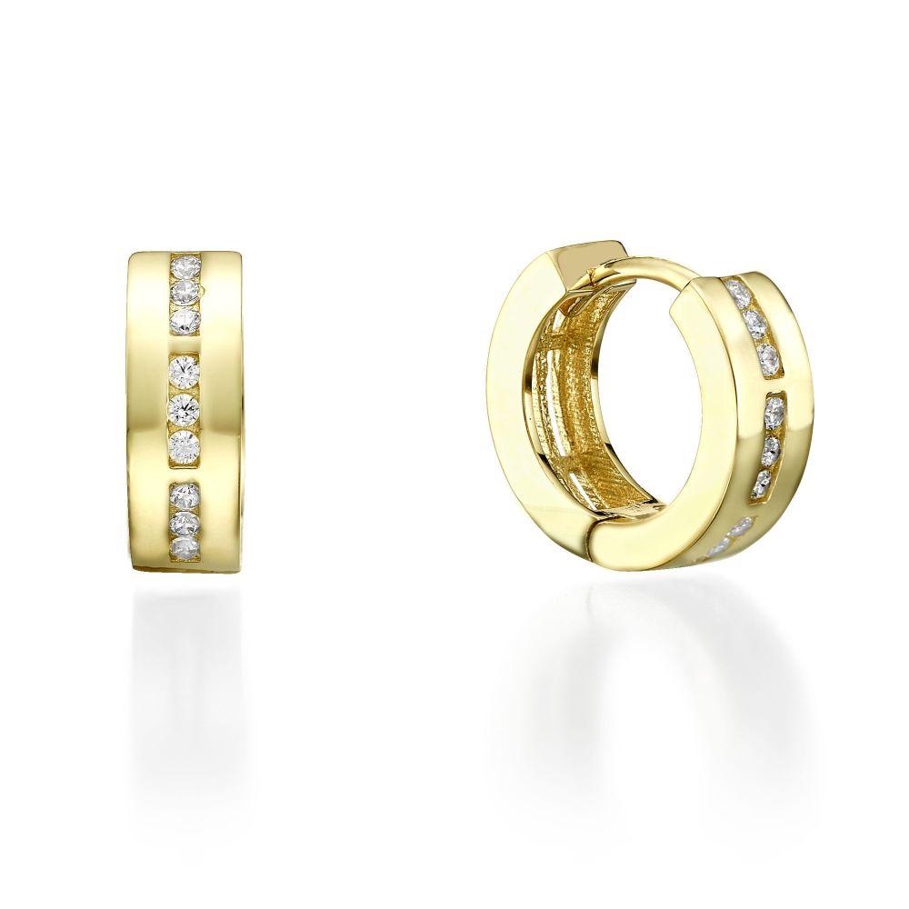 תכשיטי זהב לנשים | עגילי חישוק מזהב צהוב - קנזס