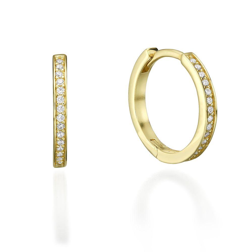תכשיטי זהב לנשים | עגילי חישוק מזהב צהוב - וואנקה