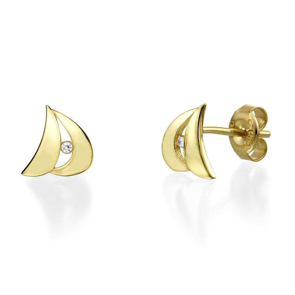 תכשיטי זהב לנשים   עגילים צמודים מזהב צהוב - סידני