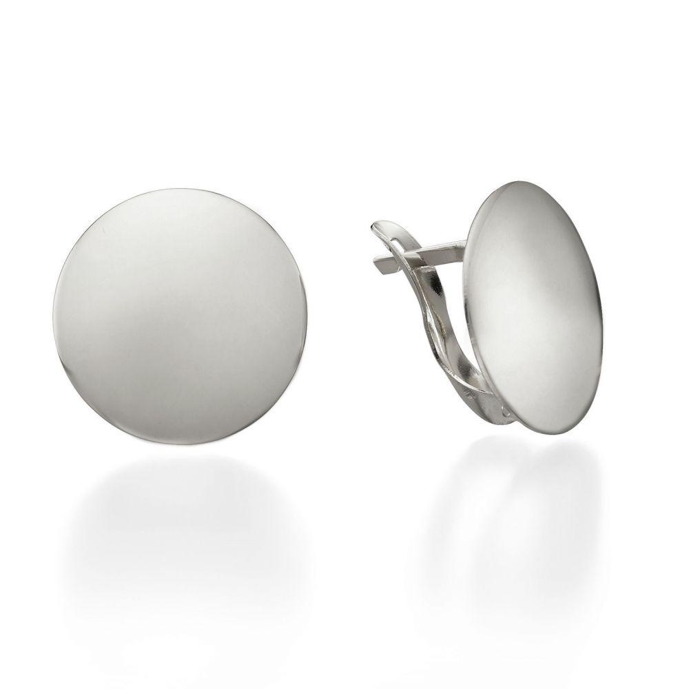 תכשיטי זהב לנשים | עגילי חישוק מזהב לבן - סיכה