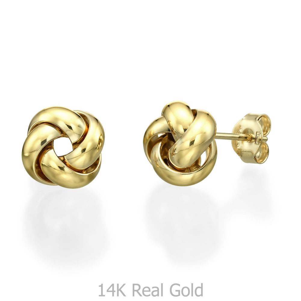 תכשיטי זהב לנשים | עגילים צמודים מזהב צהוב - טווס הזהב