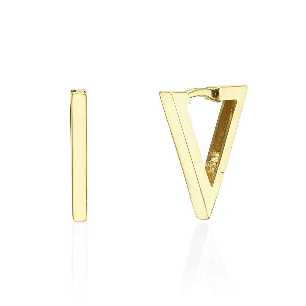 תכשיטי זהב לנשים | עגילים תלויים מזהב צהוב 14 קראט - משולש הזהב