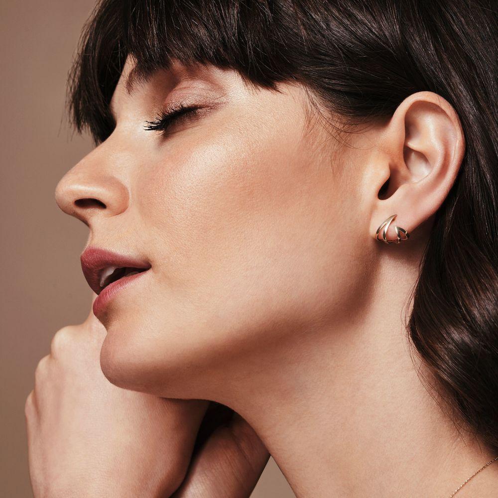 תכשיטי זהב לנשים | עגילים צמודים מזהב צהוב 14 קראט - אש ולהבה
