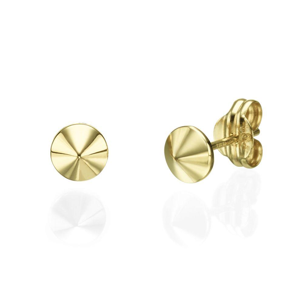 תכשיטי זהב לנשים | עגילים צמודים מזהב צהוב 14 קראט - ניטים זהב