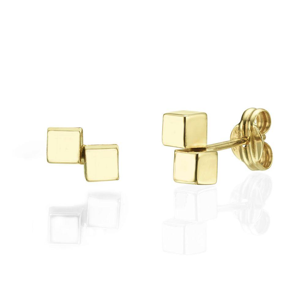 תכשיטי זהב לנשים | עגילים צמודים מזהב צהוב 14 קראט - קוביות הזהב