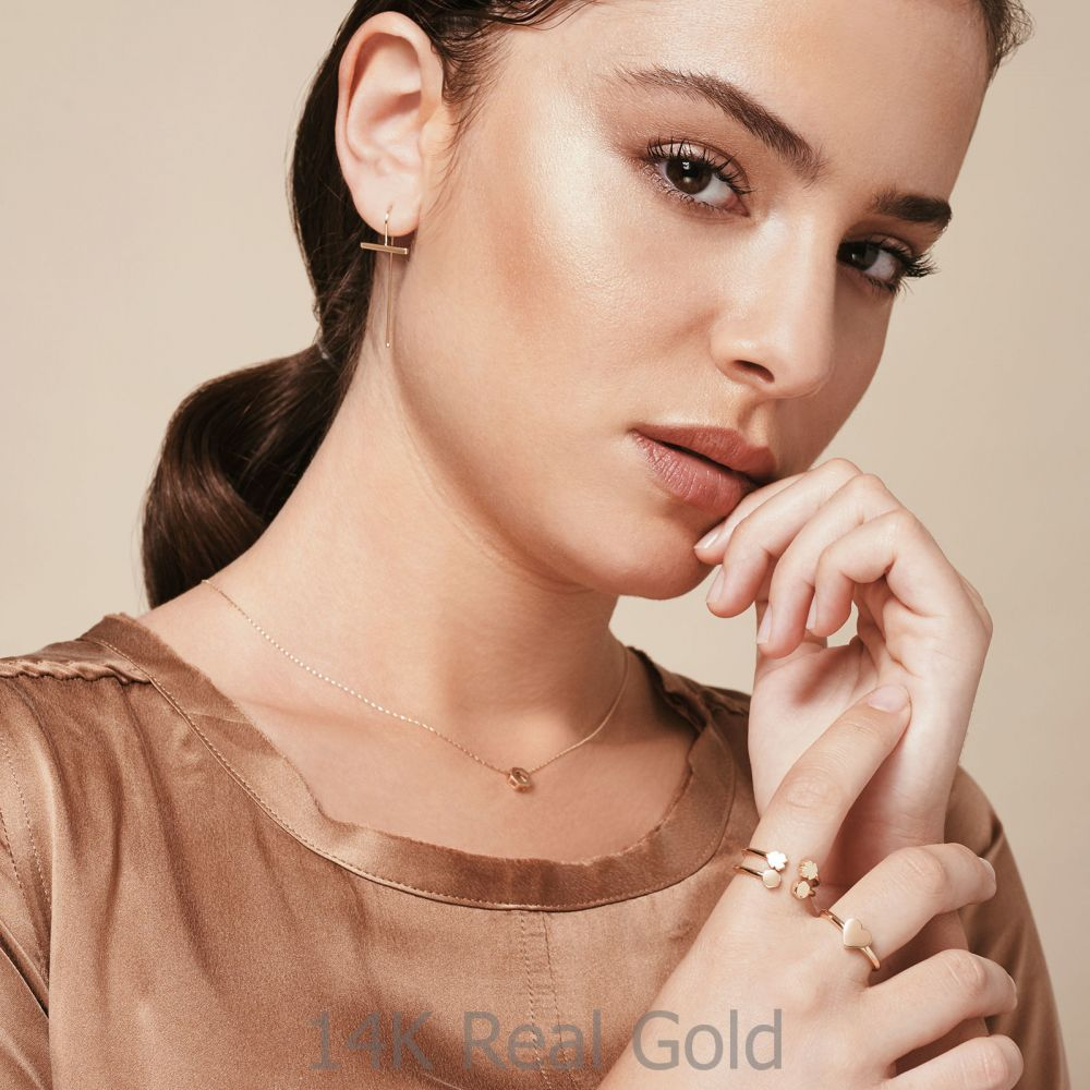 תכשיטי זהב לנשים | עגילים תלויים ארוכים מזהב צהוב 14 קראט - אווה