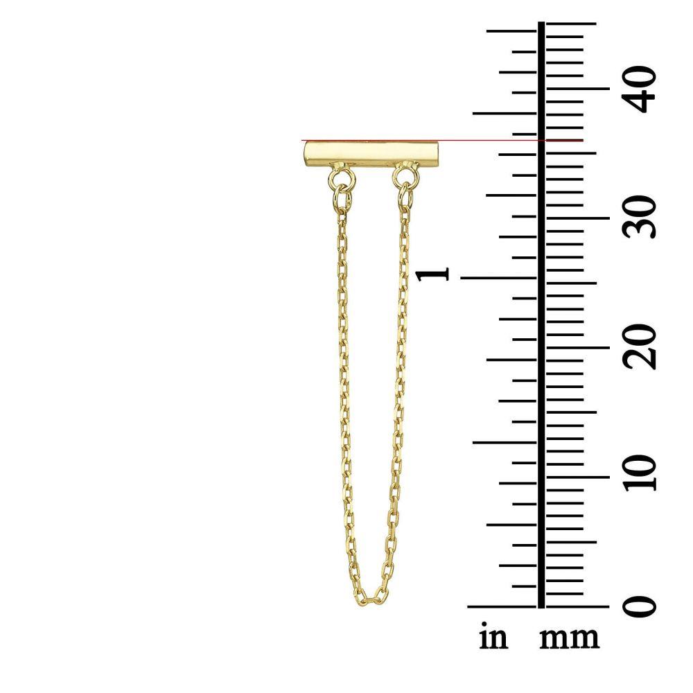 תכשיטי זהב לנשים | עגילים צמודים ארוכים מזהב צהוב 14 קראט - מושכות הזהב