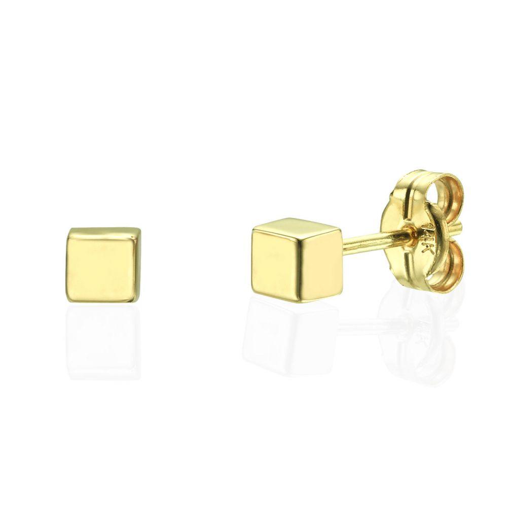 תכשיטי זהב לנשים | עגילים צמודים מזהב צהוב 14 קראט - קוביית הזהב - קטן