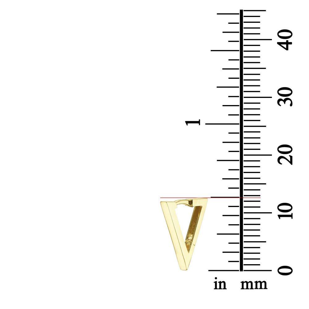 תכשיטי זהב לנשים | עגילים תלויים מזהב לבן 14 קראט - משולש הזהב