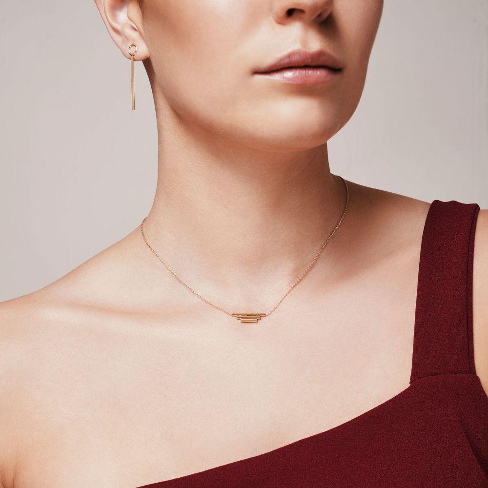 תכשיטי זהב לנשים | עגילים תלויים ארוכים מזהב לבן 14 קראט - מטוטלת