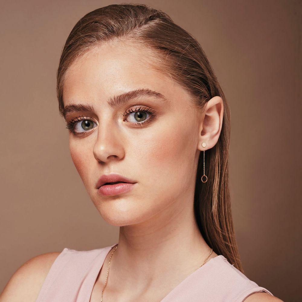 תכשיטי זהב לנשים | עגילים תלויים ארוכים מזהב לבן 14 קראט - טבעות אולימפיות