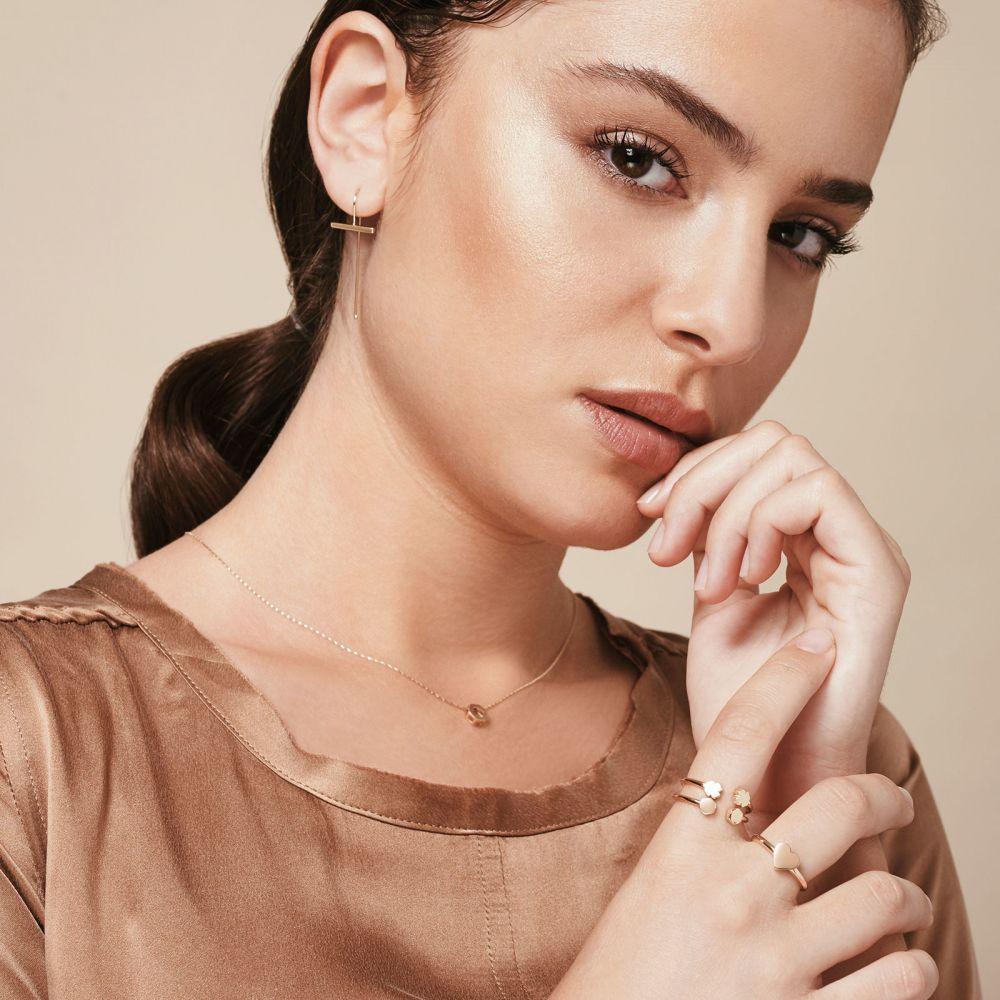 תכשיטי זהב לנשים | עגילים תלויים ארוכים מזהב לבן 14 קראט - אווה