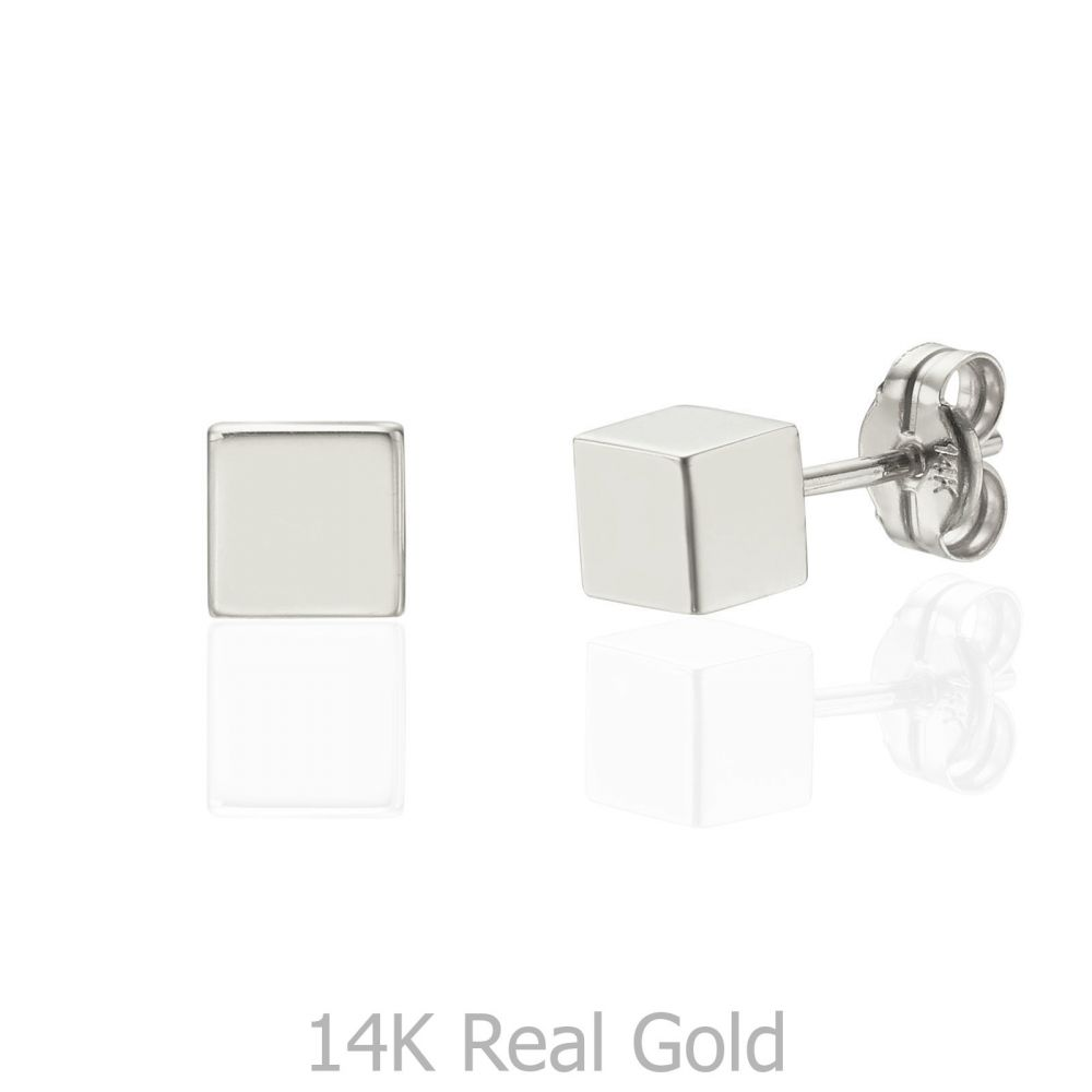 תכשיטי זהב לנשים | עגילים צמודים מזהב לבן 14 קראט - קוביית הזהב - גדול
