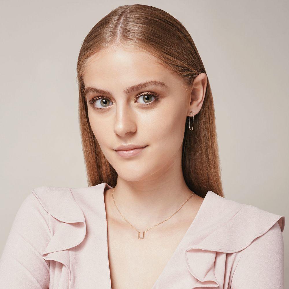 תכשיטי זהב לנשים | עגילים תלויים ארוכים מזהב לבן 14 קראט - חוליות אקספנדר