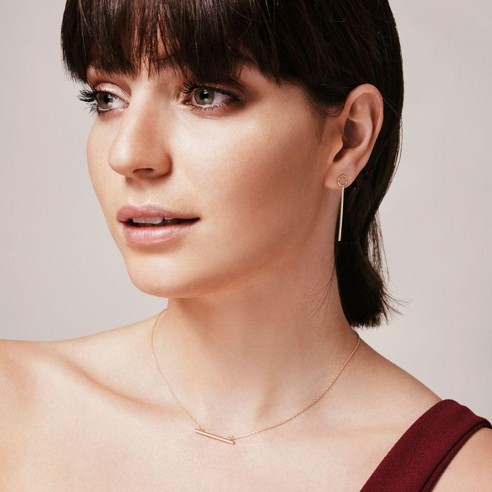 תכשיטי זהב לנשים | עגילים תלויים ארוכים מזהב ורוד 14 קראט - מטוטלת