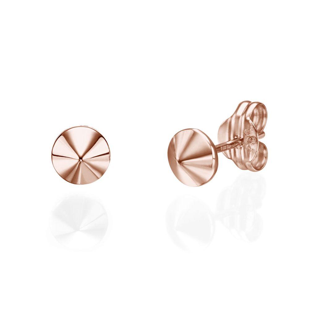 תכשיטי זהב לנשים | עגילים צמודים מזהב ורוד 14 קראט - ניטים זהב