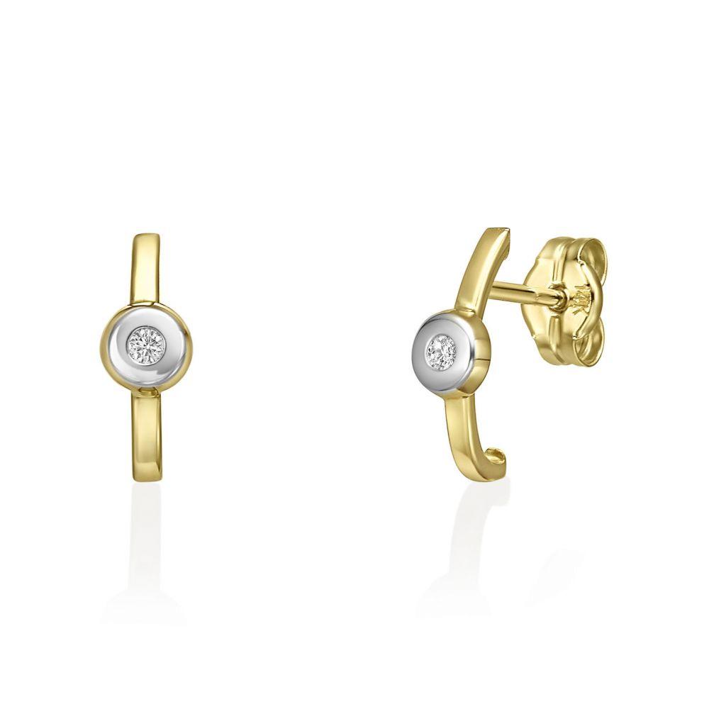 תכשיטי זהב לנשים | עגילים צמודים מזהב צהוב 14 קראט - אדל