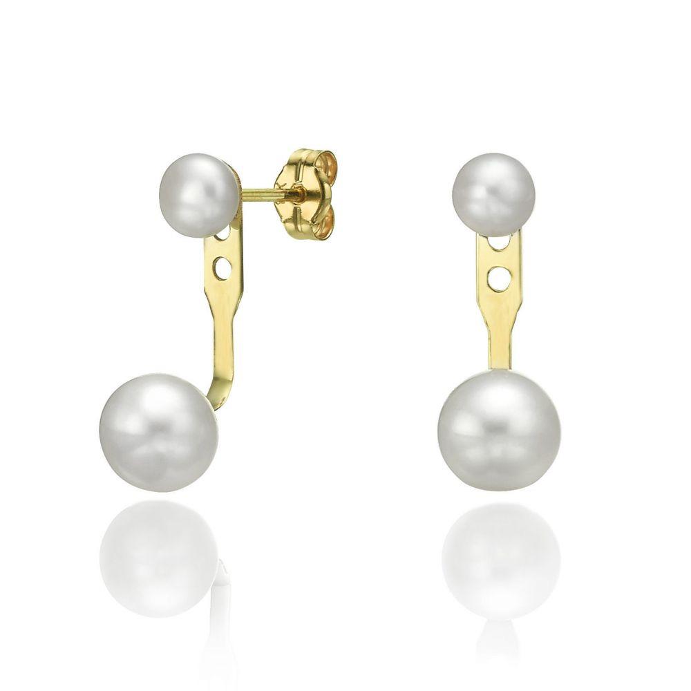 תכשיטי זהב לנשים | עגילים חובקים מזהב צהוב 14 קראט - אריאל ונפטון