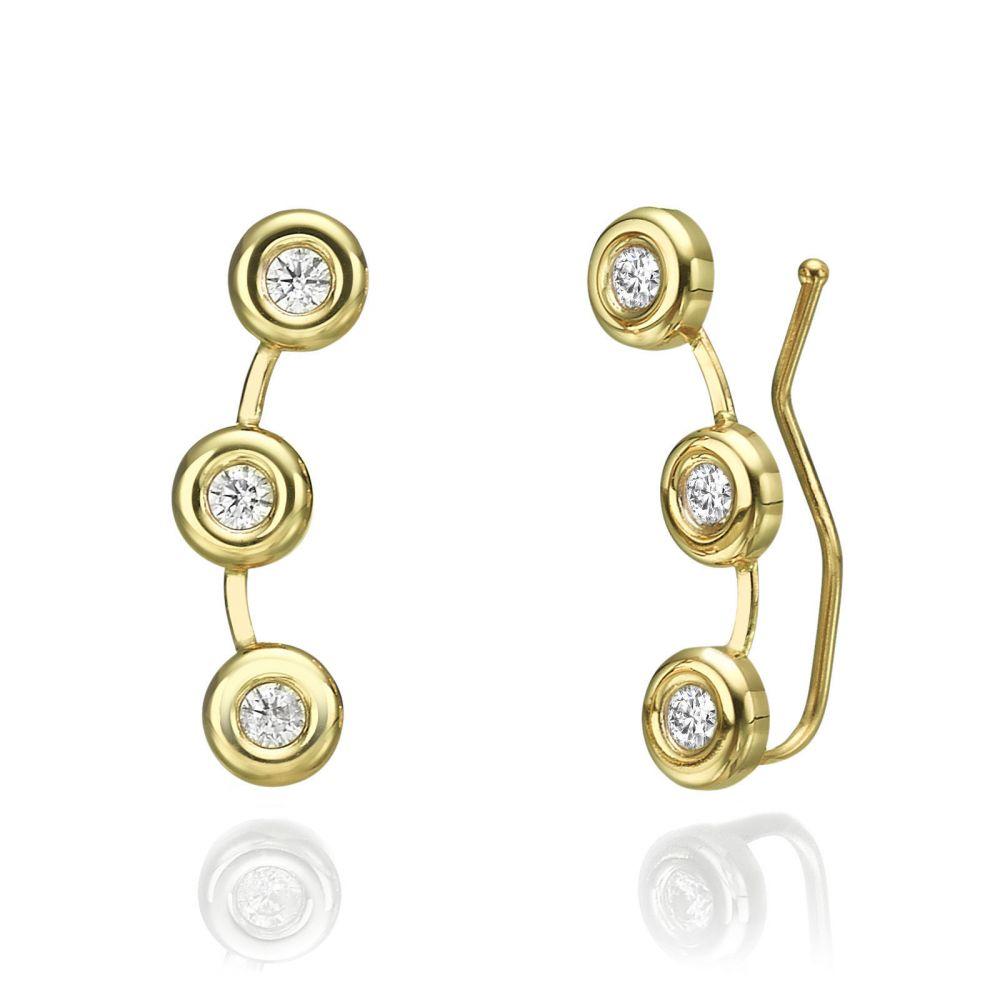 תכשיטי זהב לנשים | עגילים מטפסים מזהב צהוב 14 קראט - טוקאן