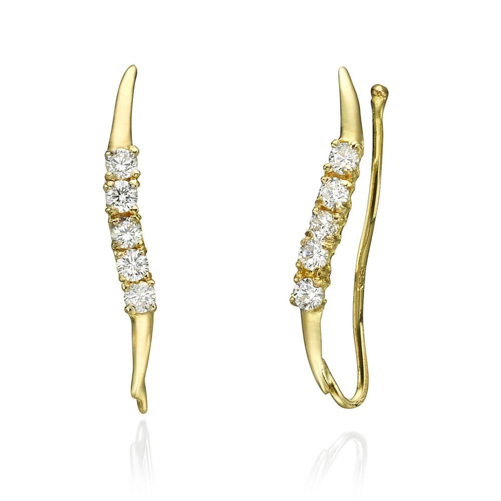 תכשיטי זהב לנשים | עגילים מטפסים מזהב צהוב - קפאוס