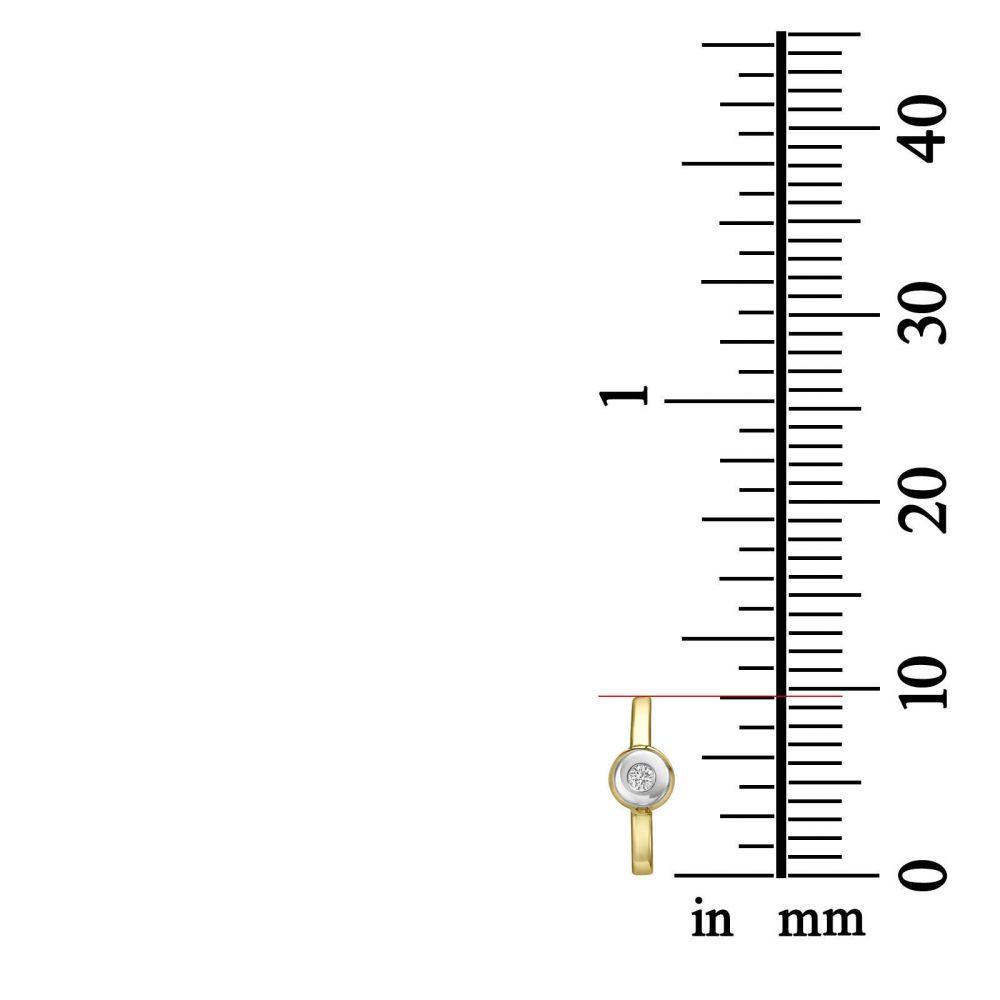 תכשיטי זהב לנשים | עגילים צמודים מזהב לבן 14 קראט - אדל