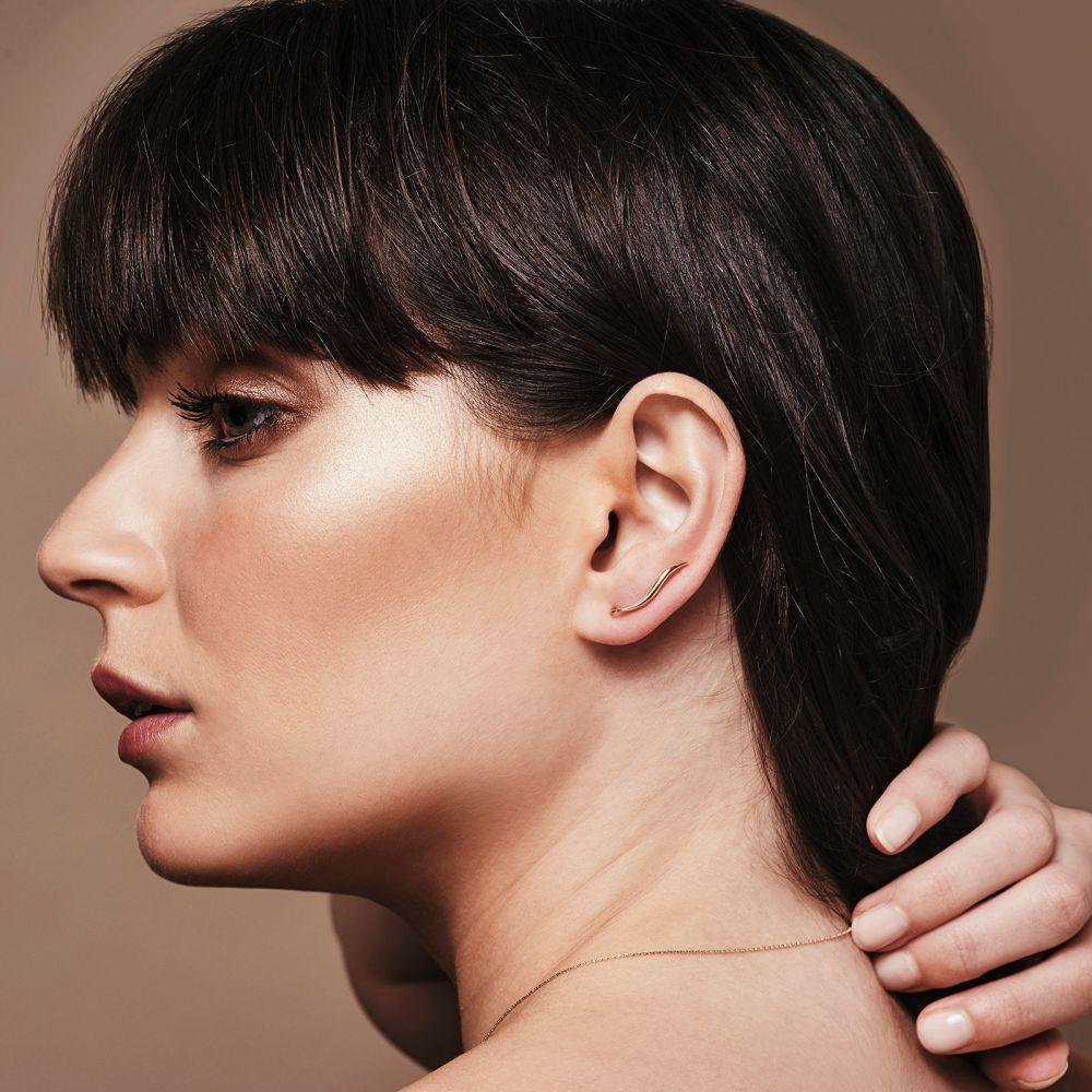 תכשיטי זהב לנשים | עגילים מטפסים מזהב לבן - לינקס