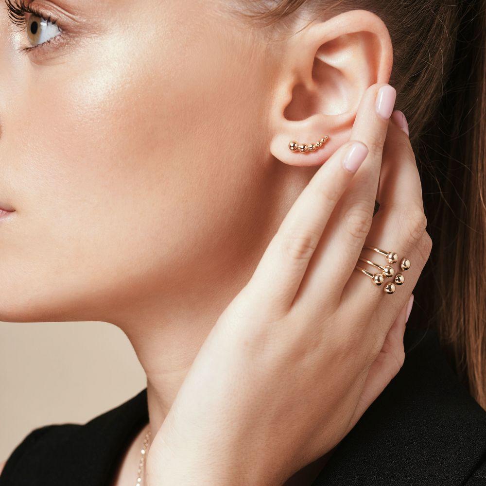 תכשיטי זהב לנשים | עגילים מטפסים מזהב לבן 14 קראט - אנדרומדה