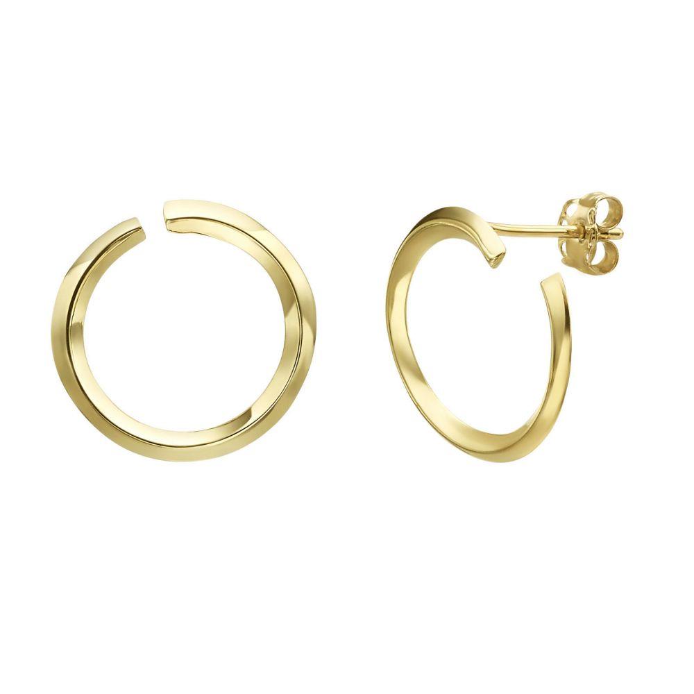 תכשיטי זהב לנשים | עגילים צמודים מזהב צהוב 14 קראט - סאנרייז גדול