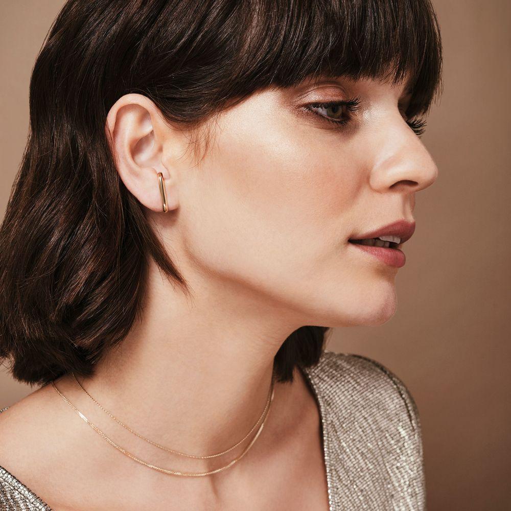 תכשיטי זהב לנשים | עגילים חובקים מזהב לבן 14 קראט - סאנשיין