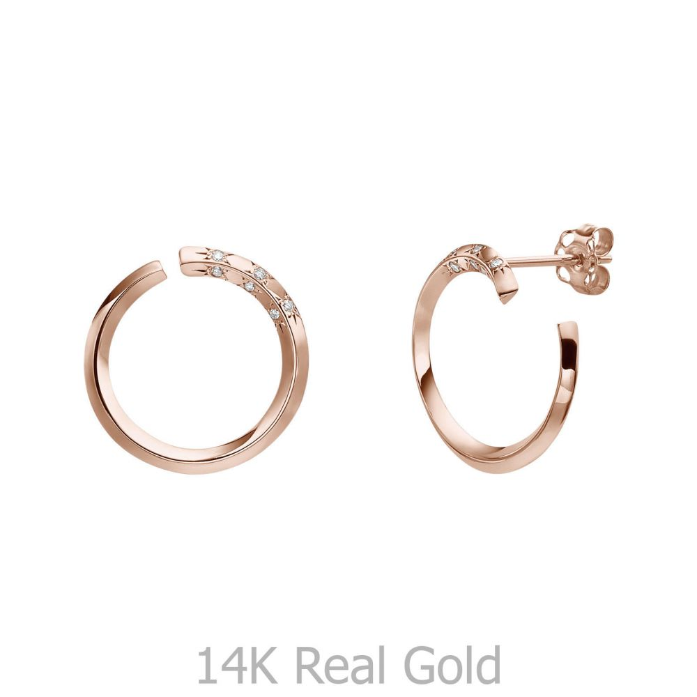 תכשיטי יהלומים | עגילי יהלום צמודים מזהב ורוד 14 קראט - סאנרייז