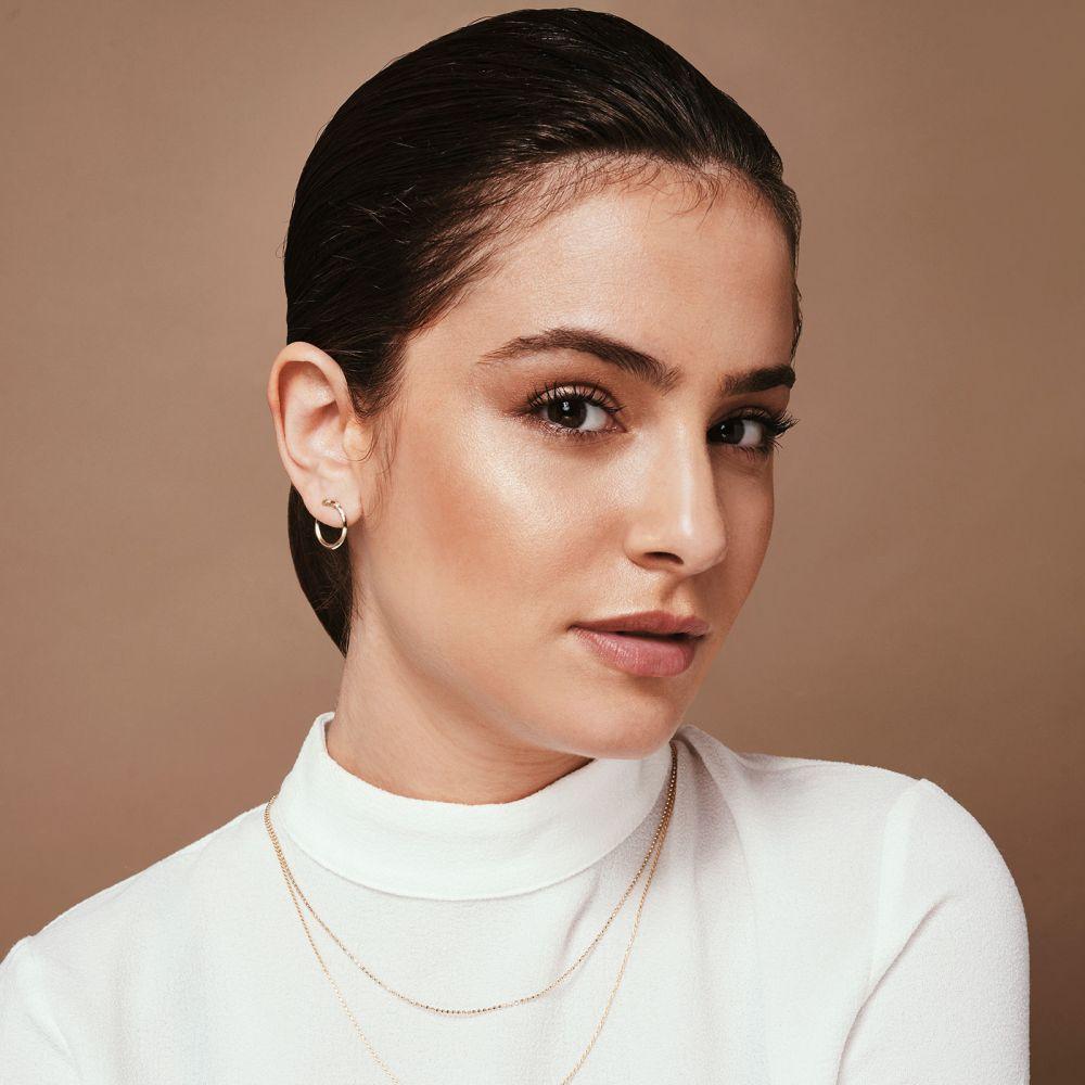 תכשיטי יהלומים | עגילי יהלום צמודים מזהב לבן 14 קראט - סאנרייז - גדול