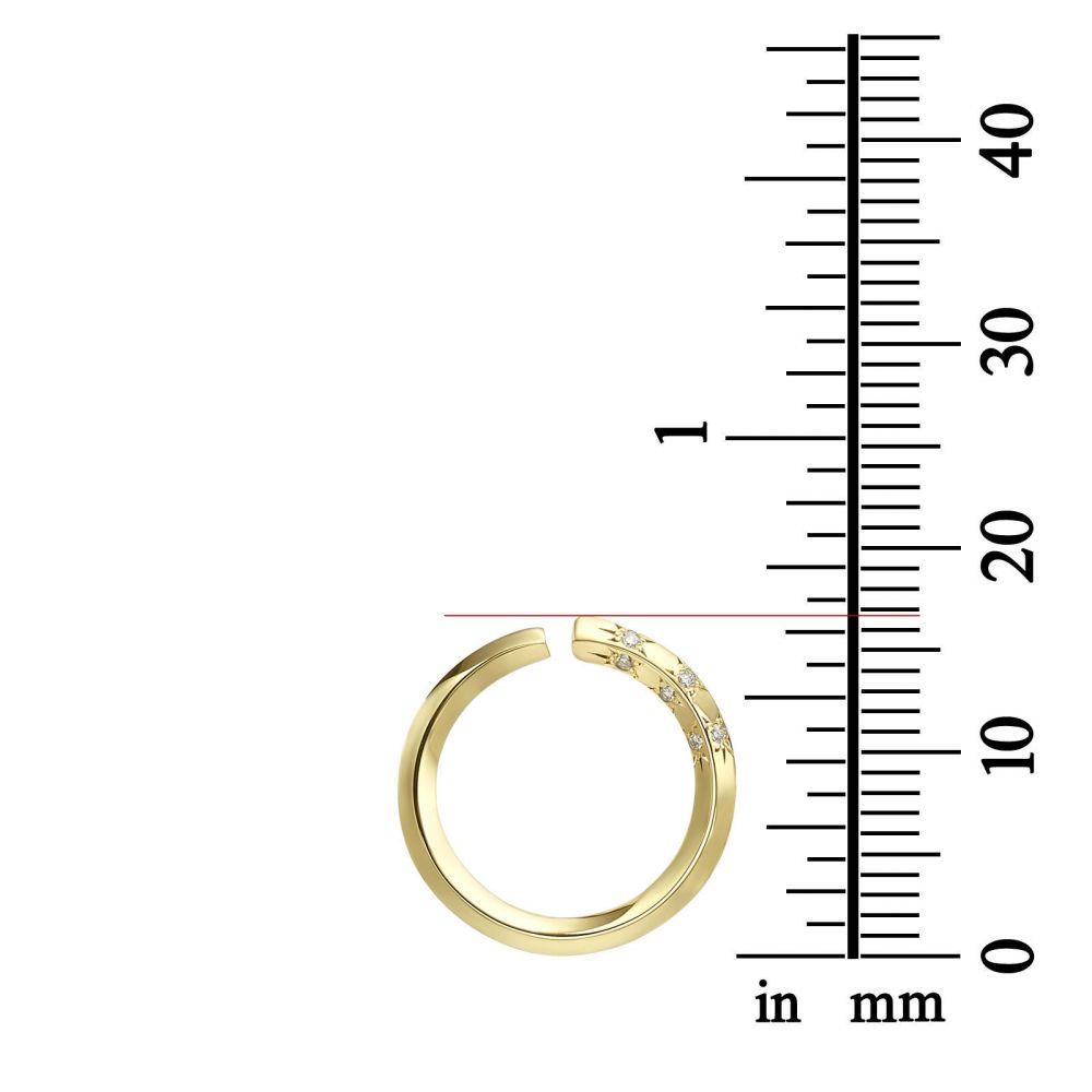 תכשיטי יהלומים | עגילי יהלום צמודים מזהב ורוד 14 קראט - סאנרייז - גדול