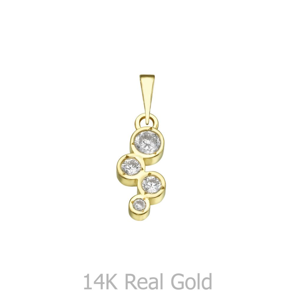 תכשיטי זהב לנשים   תליון זהב- כדורי האור