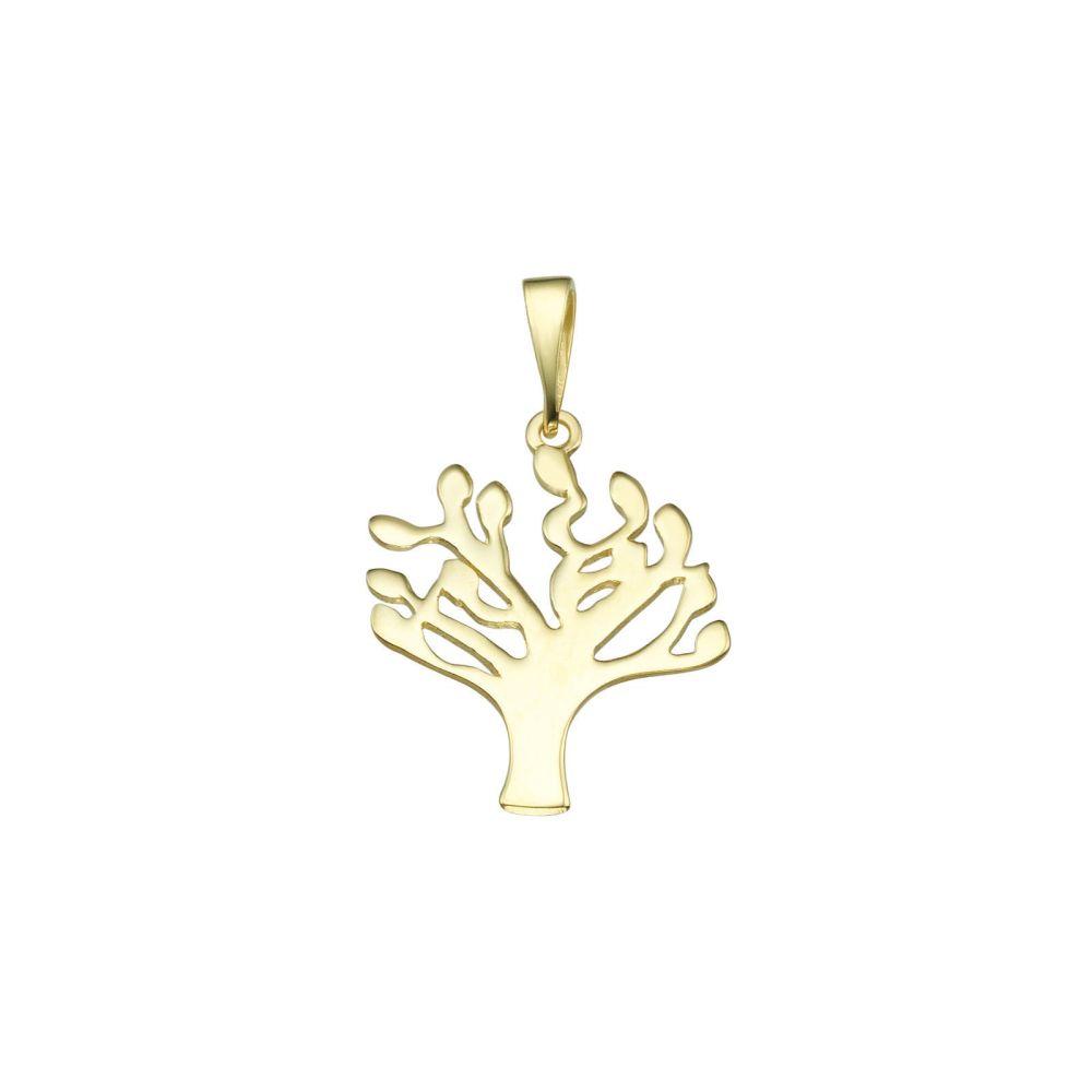 תכשיטי זהב לנשים   תליון מזהב -  עץ שקמה