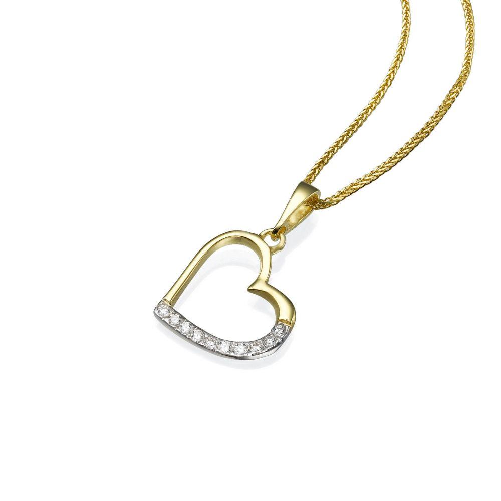 תכשיטי זהב לנשים | תליון מזהב -  לב מנצנץ