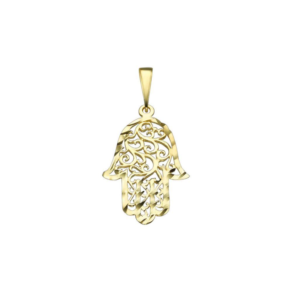 תכשיטי זהב לנשים   תליון מזהב -  חמסה רקומה