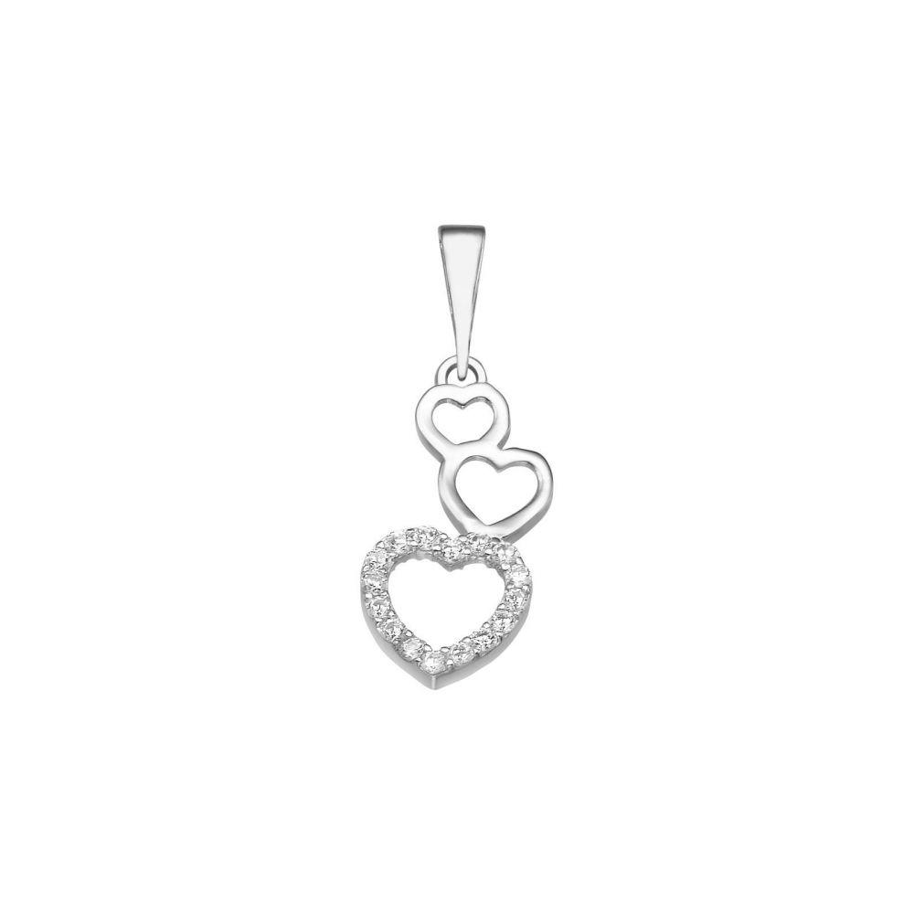 תכשיטי זהב לנשים | תליון מזהב לבן  14 קראט -  לב אלמה