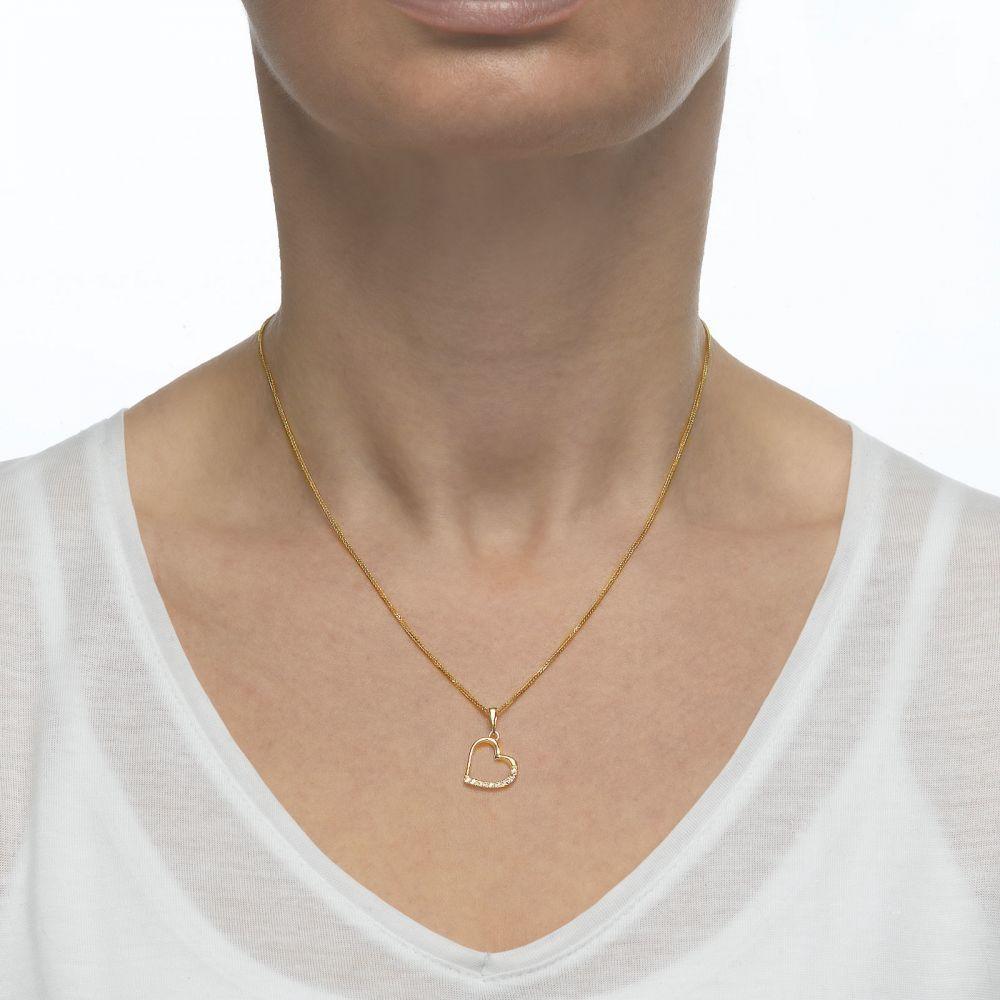תכשיטי זהב לנשים | תליון מזהב לבן -  לב מנצנץ