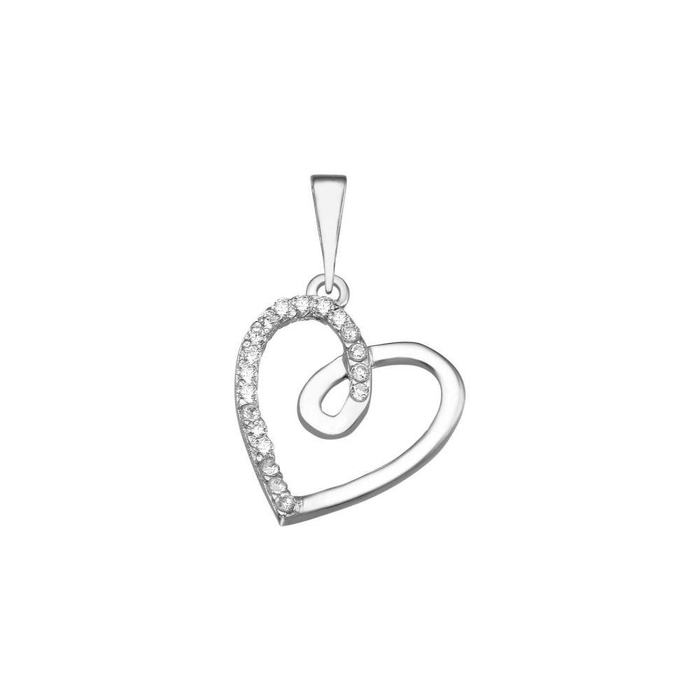 תכשיטי זהב לנשים | תליון מזהב לבן -  לב גאיה